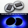 2pcs New Fashion Universal Car Styling Solar Power Energy LED Car Cup Lamp Coaster Mat Interior Decoration Light Blue Colors