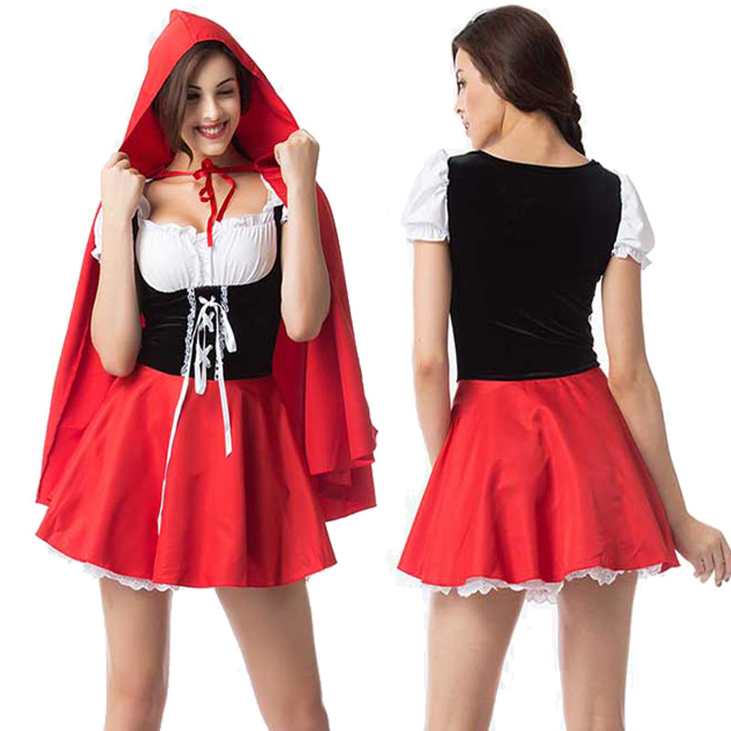 DJGRSTER Women Cosplay Girl Little Red Riding Hood Cosplay Dress Princess Halloween Costume DS Clothing For Party