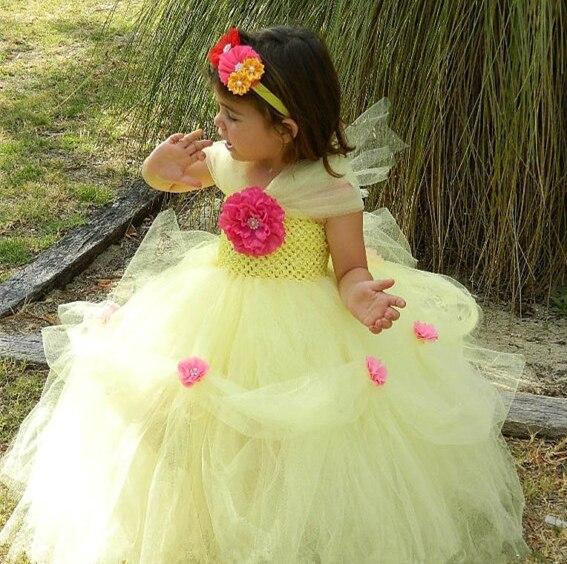 Elegante Vestido de Princesa Flower Girls Tutu Vestido de la Bella y la  Bestia Con La