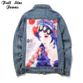 Women'S New Design Loose Plus Size Chinese Traditional Opera Make-Up Print Denim Jacket 4Xl 5Xl Lady'S Fashion Hole Ripped Coat