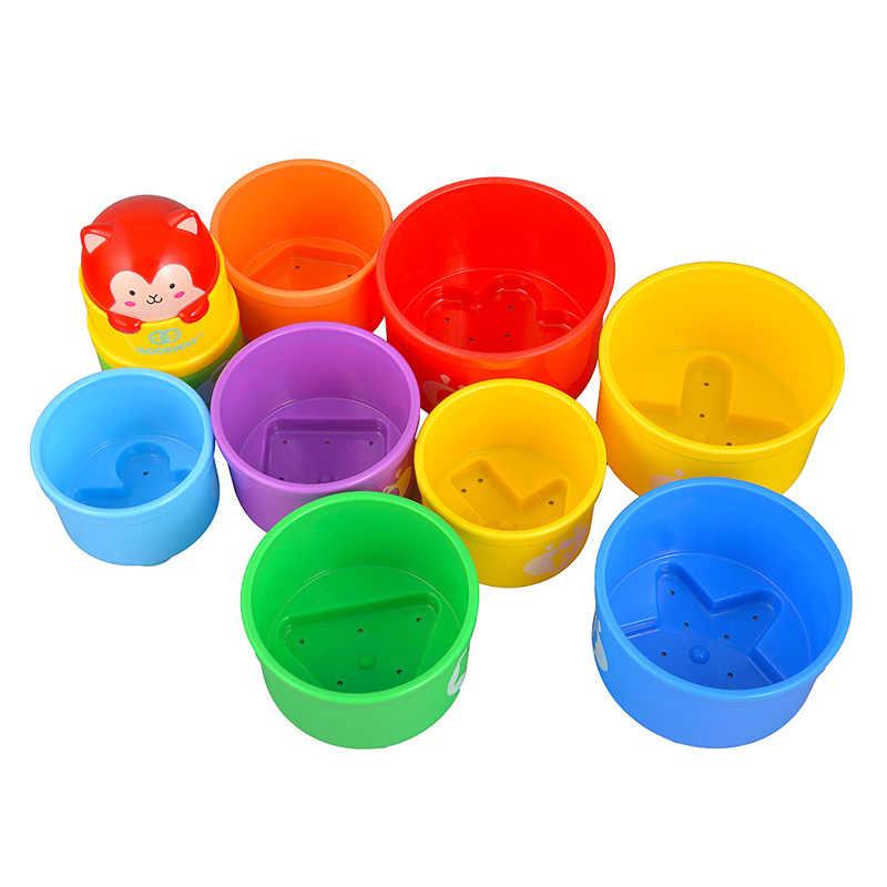아기 스태킹 컵 교육 아기 장난감 레인보우 피규어 접이식 타워 재미 있은 더미 컵 카운트 abs 번호 편지 완구 세트 베이브