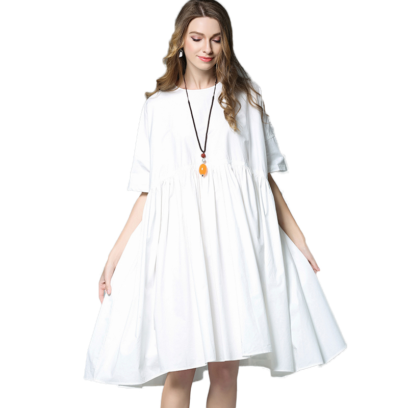 Plus Size Cotton Dress Women Summer Black White Oversized Loose ...
