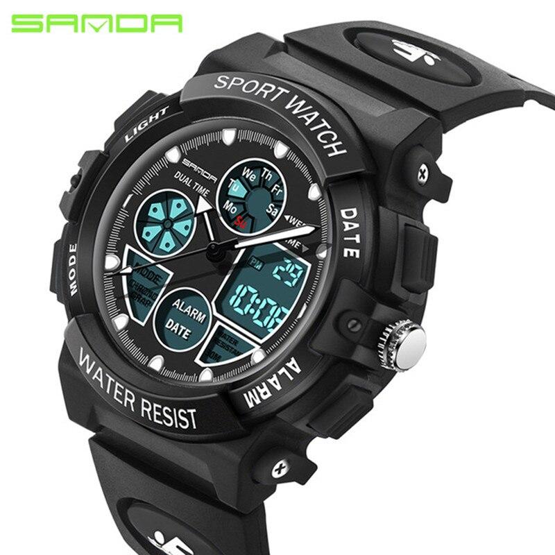 SANDA Digital Watch Quartz Girl Waterproof Fashion Boy Casual LED Sport Multi-Functional