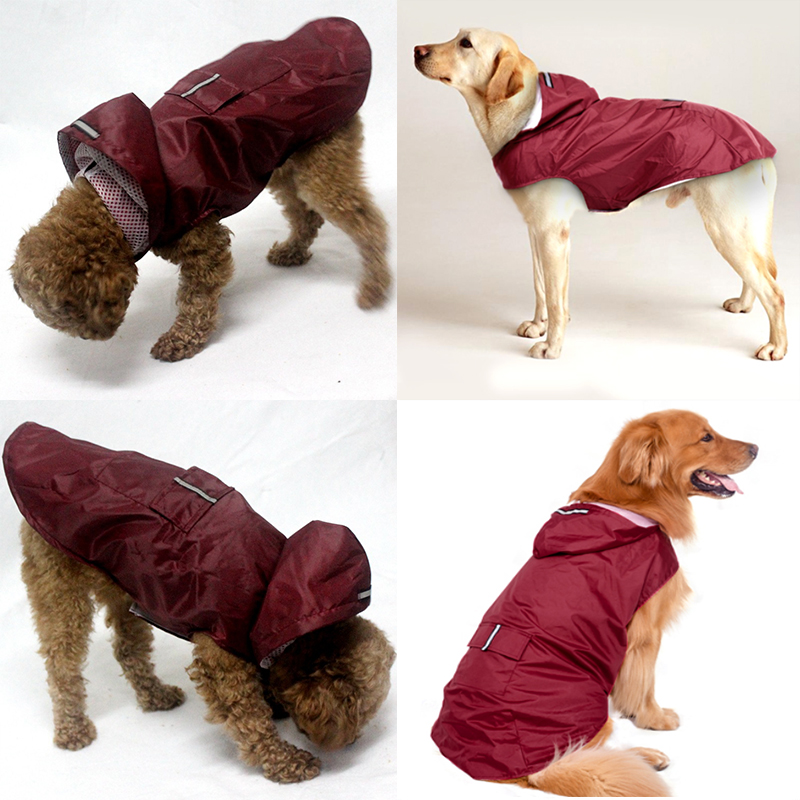 Pet Small Dog Raincoat Waterproof Large Dog Clothes Outdoor Coat Rain Jacket Reflective Puppy Big Dog Poncho Breathable Mesh