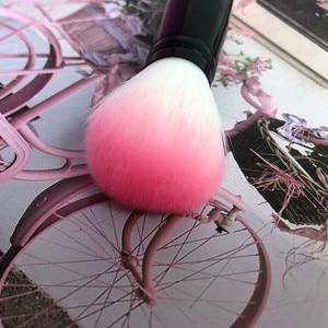 Image 3 - 1pc professionnel Blush brosse doux Nylon cheveux maquillage brosses deux tête en métal poignée fard à joues outils cosmétiques avec fond de teint éponge
