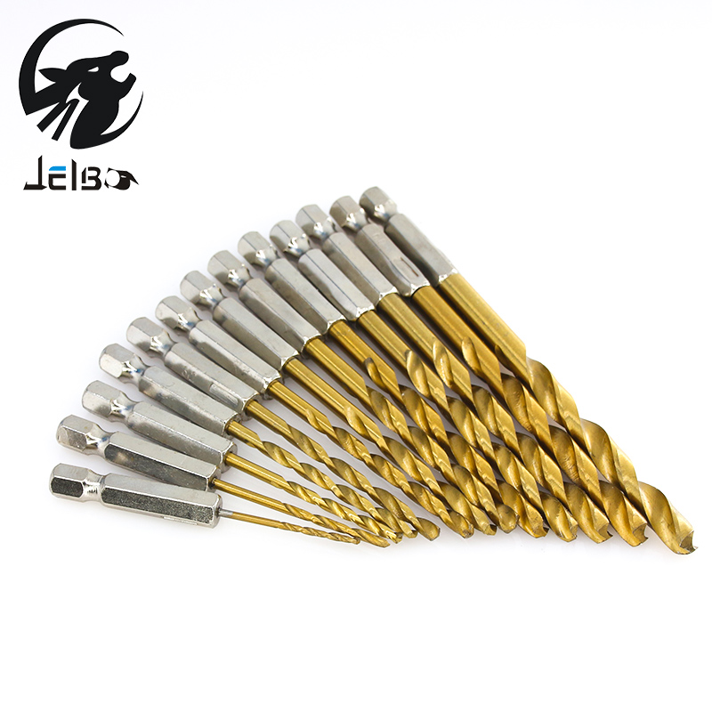 Jelbo Drill Bit (13pcs) Drill Bit Set Tools Screw Extractor Woodworking Tools Power Twist Drill Bits Tool Six Angle Screw Metal