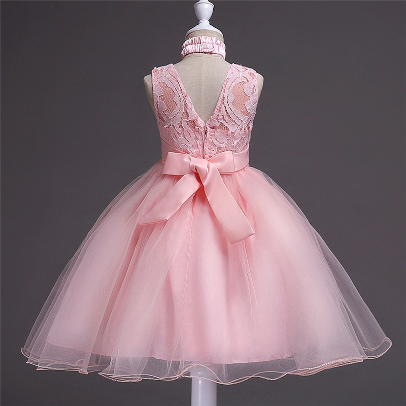 Teens Flower Girls Dresses Autumn 2017 New Fashion Children Pink Dress for Party and Wedding Clothing Monsoon Girls Clothes