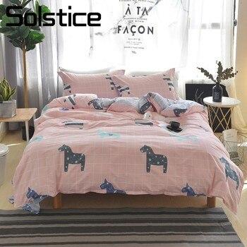 Solstice hogar textil dibujos animados caballo Plaid juegos de cama lindo chico niña algodón colcha funda de edredón sábana ropa de cama