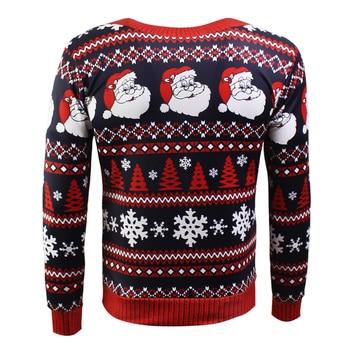 Men Santa Claus Print XMas Pullover 1