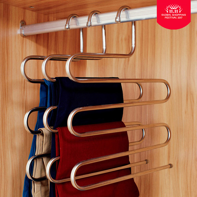 Stainless Steel S Shape Closet Pant Trousers Rack Magic Hanger Multi 5 Layers