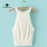Eileen Elisa Fashion Designers 2017 Tops Sexy Knitted Tank Cami Tops Womens Vest Tops Sleeveless Loose