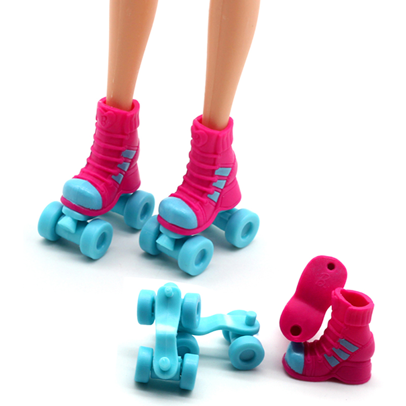 2.8cm Roller Skate Fancy Doll Shoes Toys for Girls Christmas Gif Decorative Kids Girls Toy Roller Play House Doll Accessories vik max adult kids dark blue leather figure skate shoes with aluminium alloy frame and stainless steel ice blade