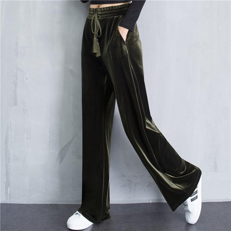 Casuales Larga Oro Pantalón Ancho Ocasional Alta Sólido Pierna Otoño Color Terciopelo Militar Pantalones Cintura Del Hembra verde Negro Suelta Rw5qxx0v8