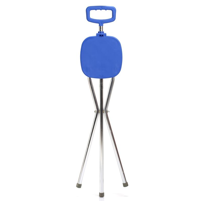 Folding Aluminium Tripod Cane Hiking Chair Portable Walking Stick With Plastic Seat Non Slip Feet Walking Stick Outerdoor Tool folding cane chair walking stick with tripod stool