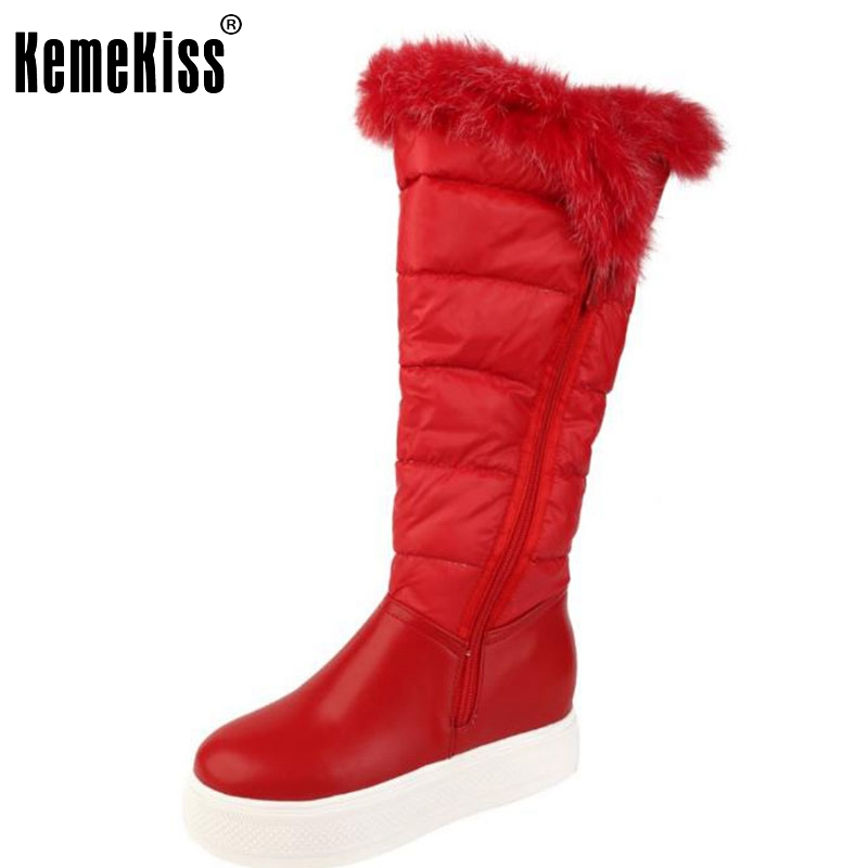 ФОТО Women Knee High Snow Boots Cozy Slip On Shoes Woman Fashion Zipper Winter Extremely Warm-Keeping Bootines Mujer Size 34-39