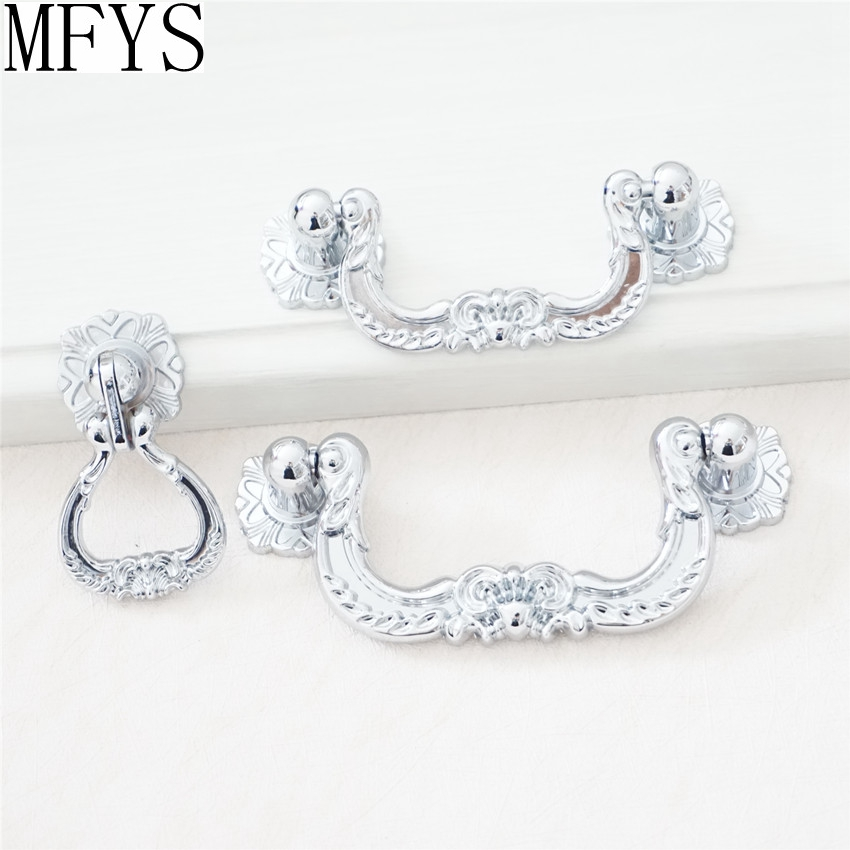 2.5'' 3'' Bail Pulls Dresser Pull Handle Drawer Handles Knobs Drop Ring Rustic Silver Chrome Kitchen Cabinet Pull Handle 64 76mm pe fuel tank