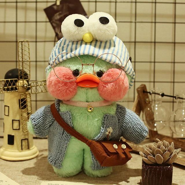 INS Hot toys Lalafanfan CafeMimi Stuffed Animal Toys Green Dress Duck DIY Soft Plush Dolls For Girl or Girlfriend Gift  30CM