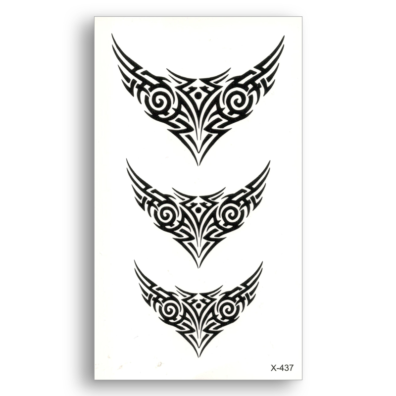 Black Fake Temporary Tattoo Water Transfer Tribal Totem Stickers Beauty Disposable Body Art Cool Makeup Live Of Song X437