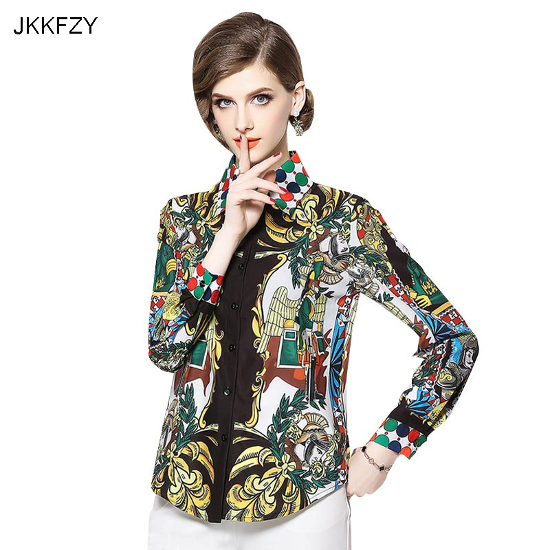 JKKFZY 2018 NEW Fashion Women Cartoon Print Slim Long Sleeves Autumn Shirt  High Quality  Female OL Office Top Runway Shirt