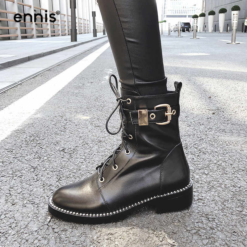 6bd7579e240d ENNIS 2018 Winter Martin Boots Women Boots Genuine Leather Ankle Boots Low  Heel Lace Up Buckle