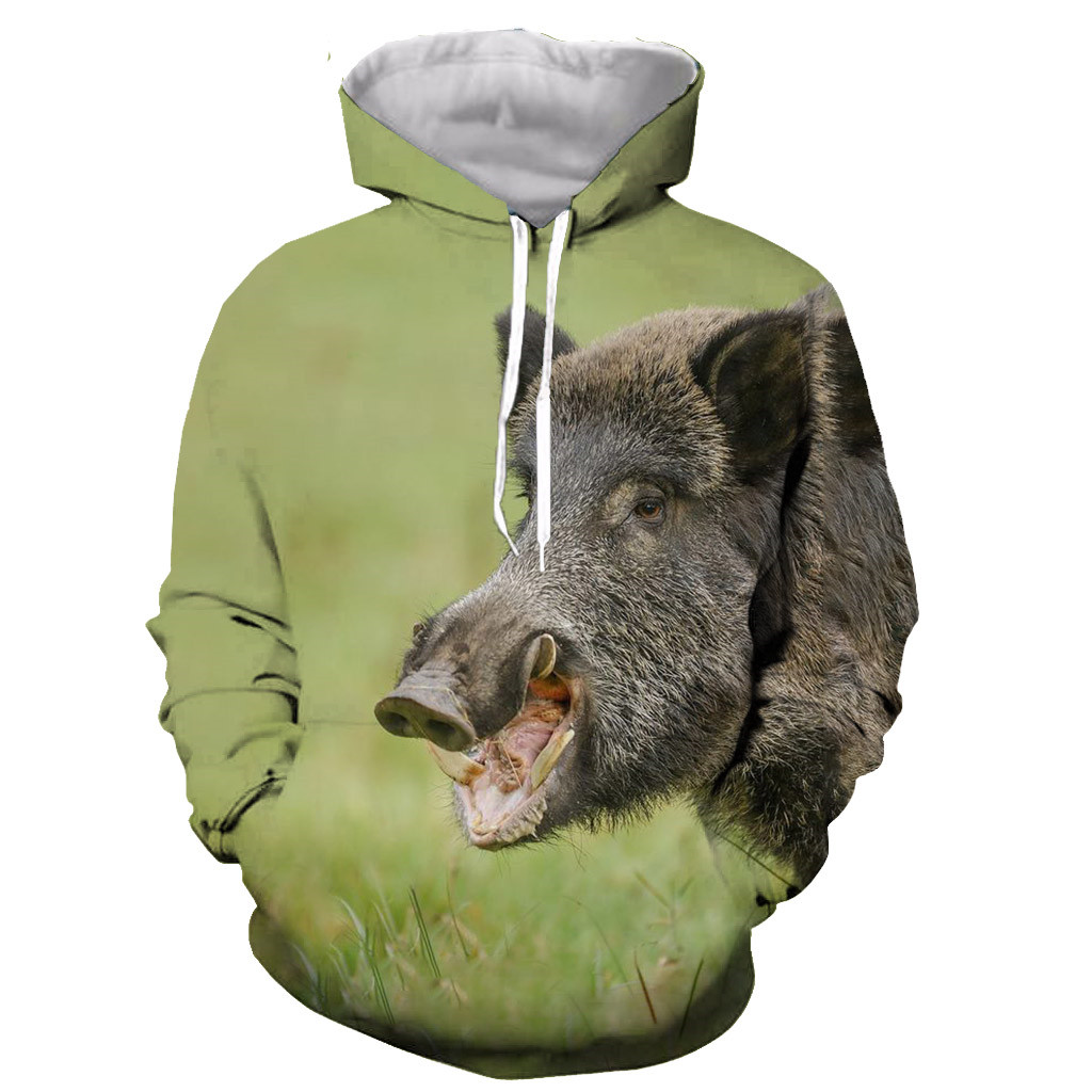 Hooded Streetwear Pullover Sweatshirt Fashion Boar Animal Funny Wild 3d-Printed Casual