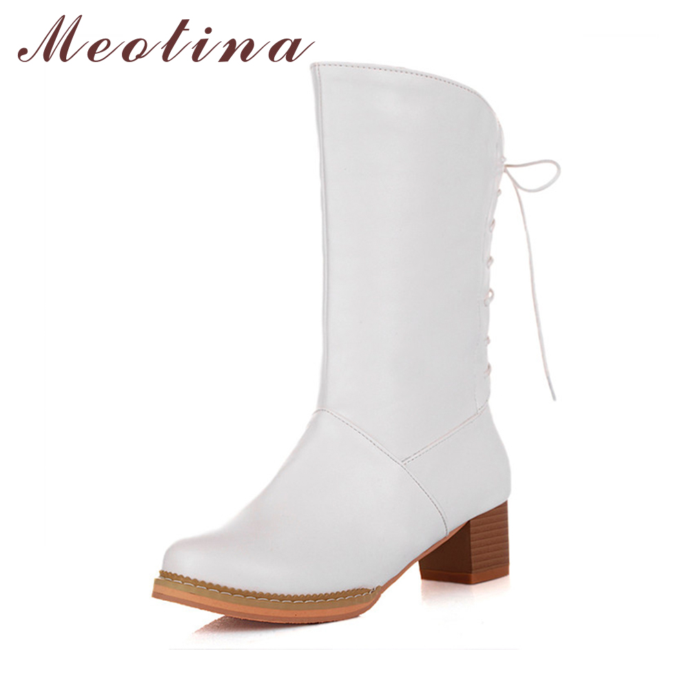 Meotina Women Boots 2017 Winter Mid Calf Boots Lace Up Chunky Heel Western Boots Female Shoes Autumn Purple White Size 34-39 double buckle cross straps mid calf boots