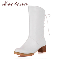 Meotina Women Boots 2017 Winter Mid Calf Boots Lace Up Chunky Heel Western Boots Female Shoes Autumn Purple White Size 34-39