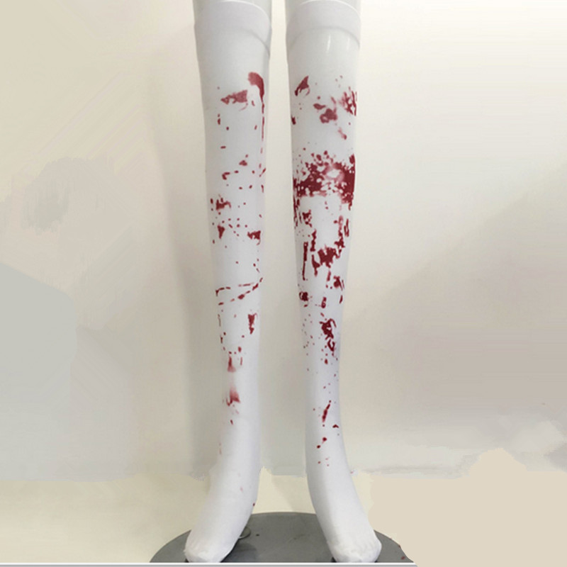 Hot Sale Halloween cosplay costume Blood Splattered Thigh High Stockings Halloween Easter Cosplay Costume Party Decoration