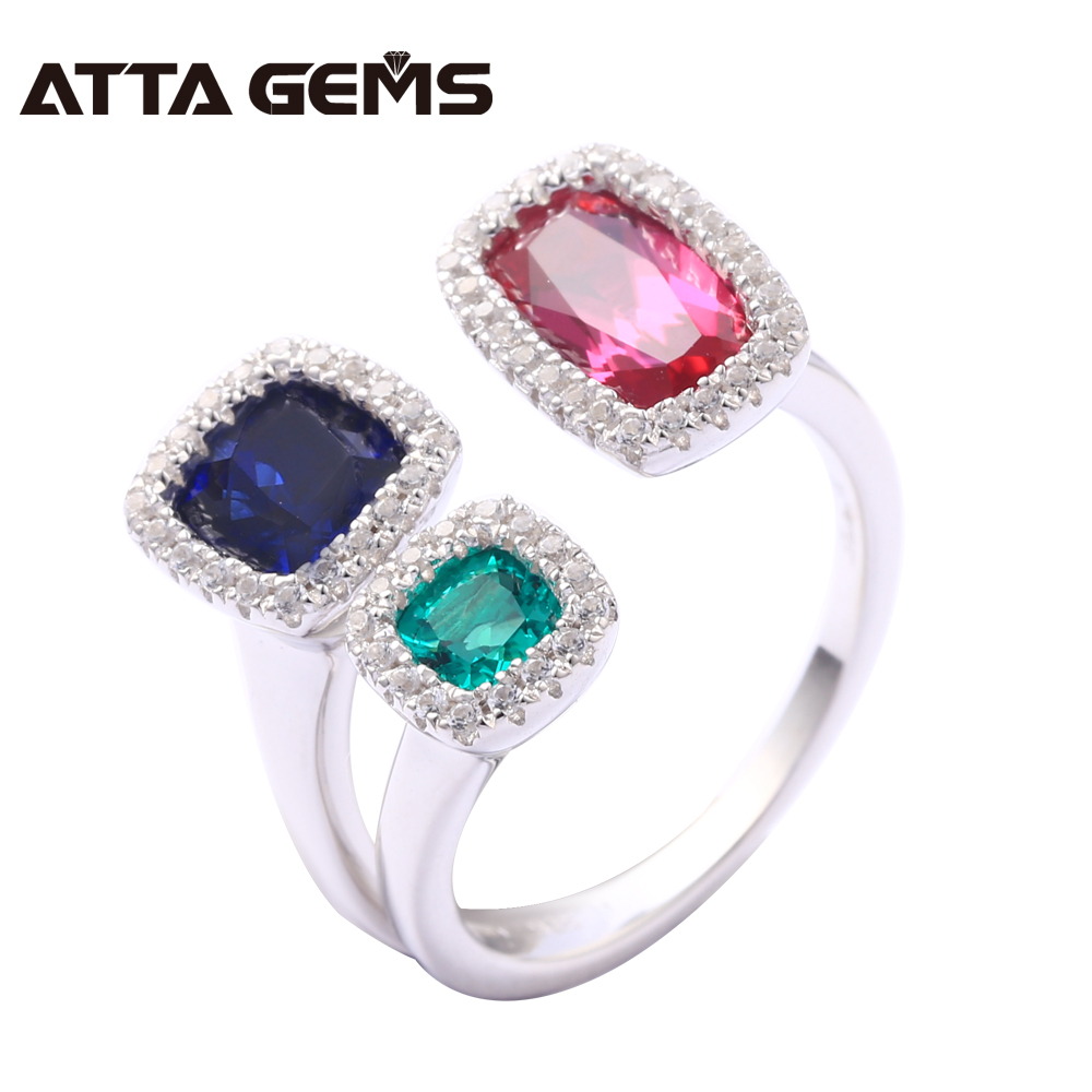 Sapphire Emerald Sterling Silver Rings for Men and Women Created Ruby S925 Rings Wedding Band Engagement Fine Jewelry Design men wedding band cz rings jewelry silver color anillos bague aneis ringen promise couple engagement rings for women