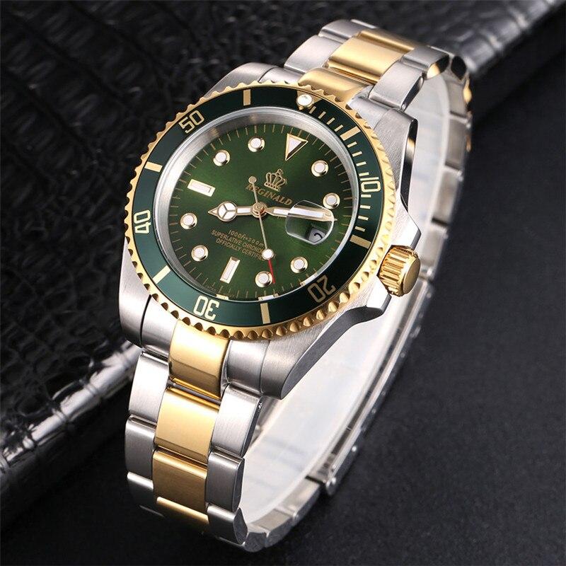 Image 2 - REGINALD Watch Men Rotatable Bezel GMT Sapphire glass 50m Water Full Steel Sport Fashion blue dial Quartz Watch Reloj HombreQuartz Watches   -