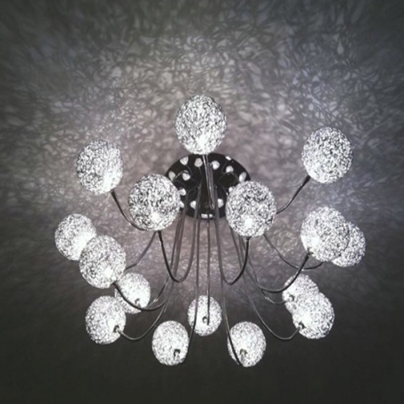 Modern 16 lights Aluminium Wire Ball Ceiling Light led living room ceiling lamp modern led G4 indoor light fixtures pe plastic led ceiling ball light indoor 16 colors waterproof for indoor outdoor