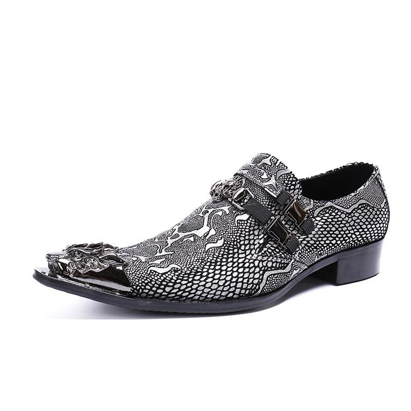 Em Businness Brogue Pé Robusto Show Calçados Fivela Metal Dois Sapatas Sapatos Relevo Couro Apontado Do Homens Dedo De Salto As Cavalheiro Dos Deslizamento Esculpido rrPUw1q5x