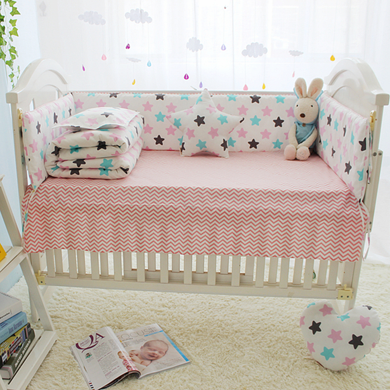 US $25.83 37% OFF|Colorful Star Baby Crib Bedding Set Cotton Comfortable  Baby Bed Sets Bumper Babies Crib Bed Linen Newborn Kid Bedding Set-in  Bedding ...