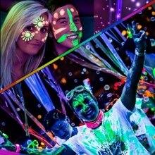 Halloween Neon Color Body & Face Painting UV Reactive Flash Tattoo temporarily Shining Run Glow Dark Oil Paint Makeup