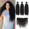 Brazilian Virgin Curly Hair with 13x4 Frontal Closure Cheap Brazilian Kinky Curly Human Hair Bundles with Ear to Ear Frontal
