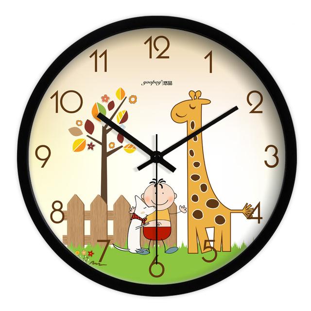 Cute Cartoon Giraffe Living Room Quiet Quartz Wall Clock Home Decoration Bedroom Fashion Creative Wall Clocks