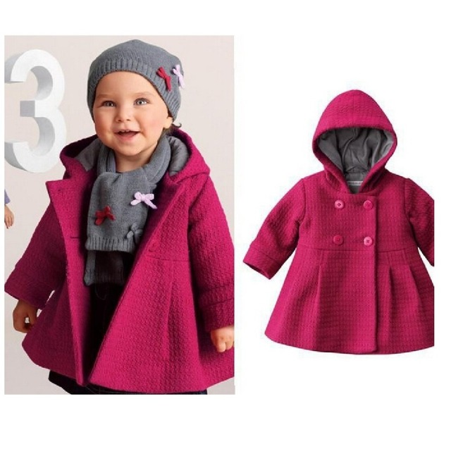 df8f04fdf Red Baby Girls Trench Hoodies Greatcoat Hooded Tops Warm Winter ...