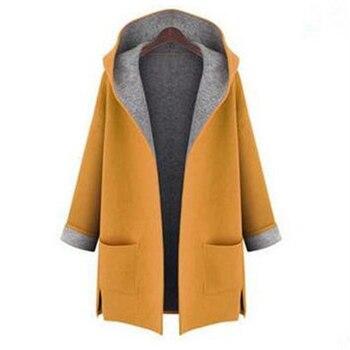 L-5XL Women Hood Woolen Coat Autumn Wool Blends Fashion Outwear Female Plus Size Coats For Ladies Autumn Winter Wool Blends