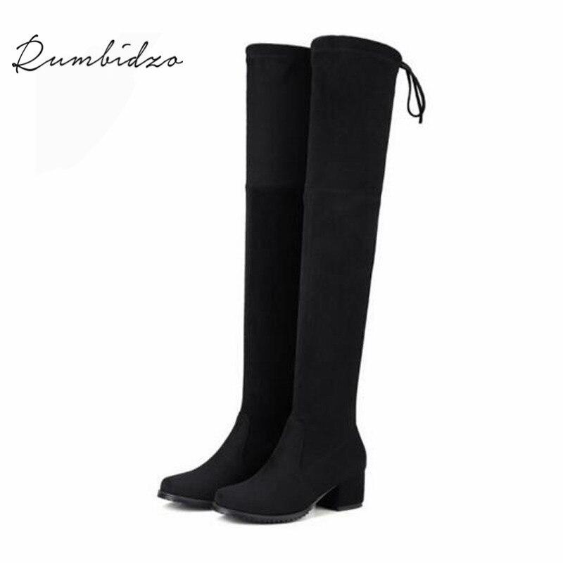 Rumbidzo Women Boots 2017 Over Knee High Boots Slim Thick Heel Lace Up Round Toe 4.5cm Heel Woman Bootie