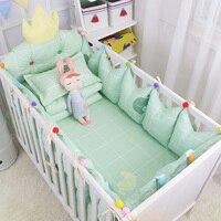 4 cái Vương Miện Sang Trọng Thiết Kế Bé Xoa Dịu Bedding Set Màu Xanh Lá Cây Tươi Cotton Crib Bedding Kit Bao Gồm 3 cái Bumper Tấm Ga Trải Giường Nhiều Kích C