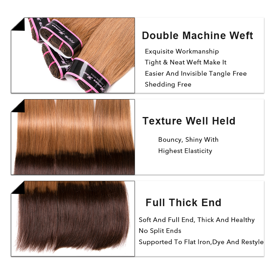 Image 2 - Glamorousremi Brazilian Straight Ombre Golden Brown T27/4 Human Hair Weave 3Bundles With Closure Long Remy Fumi Hair Extenions-in 3/4 Bundles with Closure from Hair Extensions & Wigs