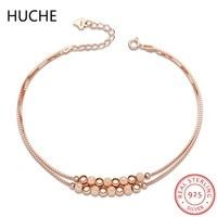 HUCHE 2017 Neue Ankunft 925 Sterling Silber Perlen Armband für Frauen Rose Gold Farbe Sterling-Silber-Schmuck Bijoux Femme ZD45