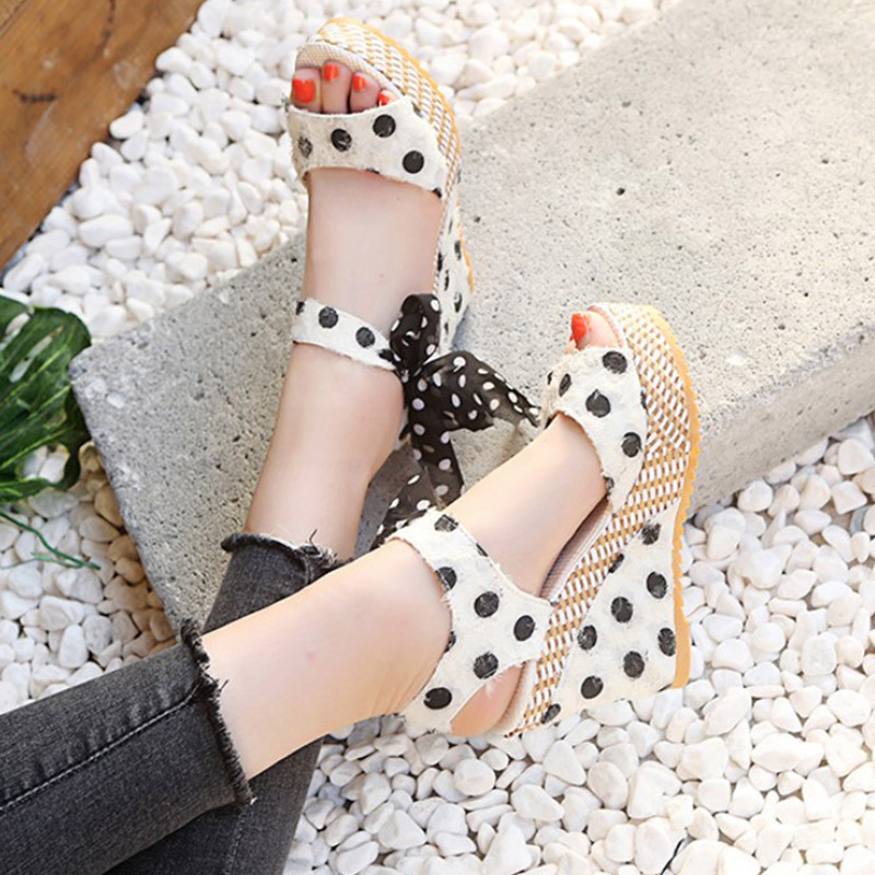 HTB1NNIhXRWD3KVjSZKPq6yp7FXat Women Sandals Dot Bowknot Design Platform Wedge Female Casual High Increas Shoes Ladies Fashion Ankle Strap Open Toe Sandals