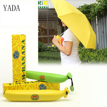 цена на YADA Yellow & Green Fruit Creative Umbrella Rain Women High Quality Banana Umbrella For Womens Windproof Folding Umbrellas YS037