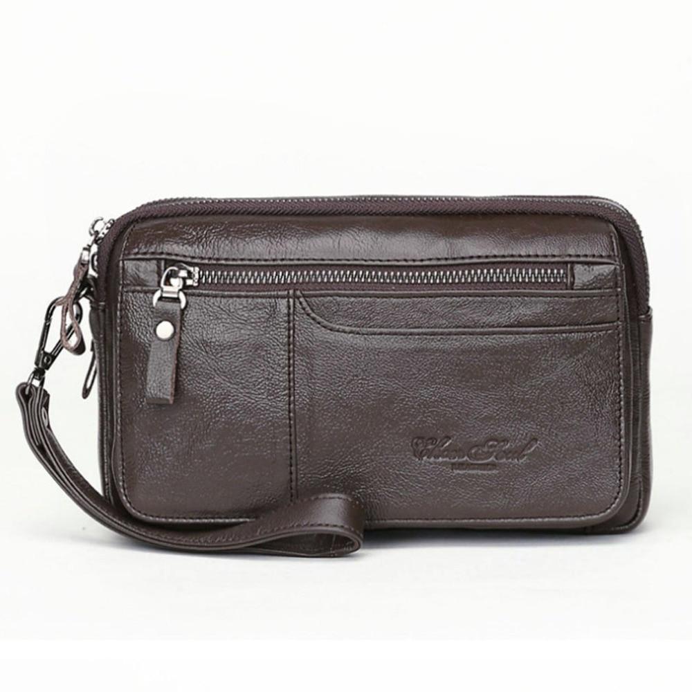 Men Leather Business Organizer Clutch Handbag Wallet Purse Zipper Holder