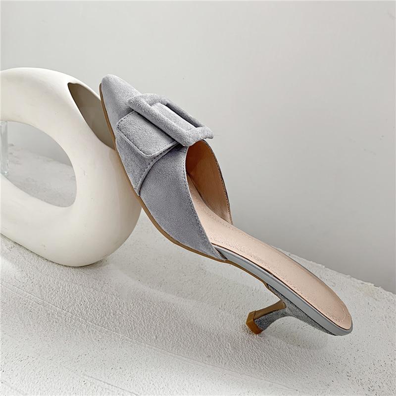 Grande Chaussons rose Femme Pointu gris Pour Dames Femmes Marque 43 Diapositives Mules Talons Chaussures Noir Ouvertes Hauts Taille 7wAqTpn4