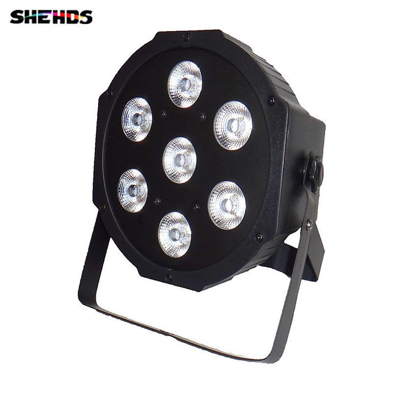 8pcs/lot 7x 12W RGBW DMX Stage Lights Business  Led Flat Par High Power Light with Professional for Party KTV Disco DJ 6 pcs lot led par 18x12w rgbw light dmx stage lights business lights professional flat par can for party ktv disco dj ligthing