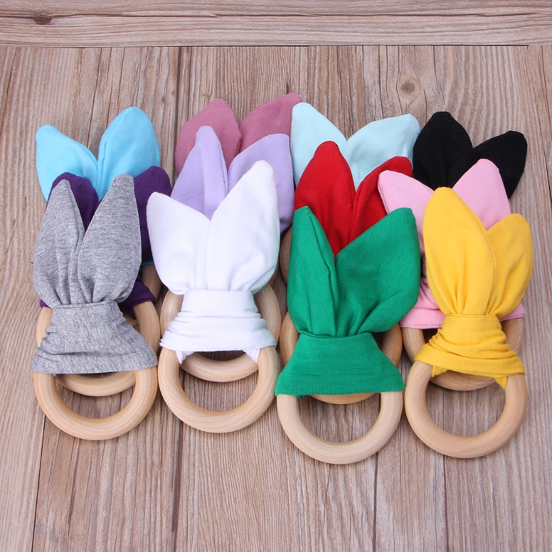 Bunny Ear Teether Fabric Wooden Teething Ring With Crinkle Material Shower Gift