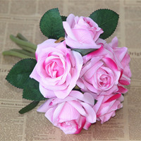 10PCS/ Bride's bouquet, wedding bouquet of roses flower Home Furnishing living room table cloth simulation artificial flowers