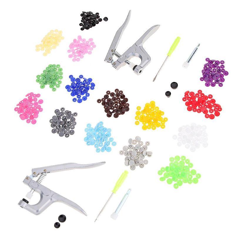 1 Unidades Metal prensa alicates herramientas para T3 T5 T8 Kam Cierre de botón Snap + alicates + 150 Unidades T5 resina de plástico prensa Stud de pañal de tela
